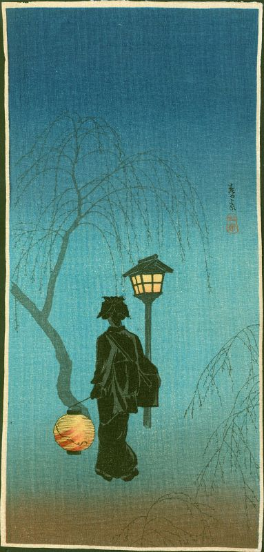 Takahashi Shotei Japanese Woodblock Print- Spring Evening