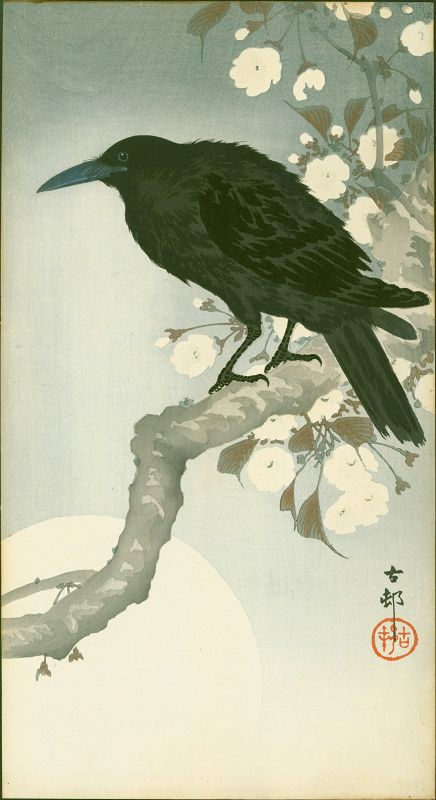 Ohara Koson Woodblock Print - Crow on Cherry Branch - RARE SOLD