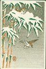 Ohara Koson Japanese Miniature Woodblock Print - Sparrows in Snow Rare