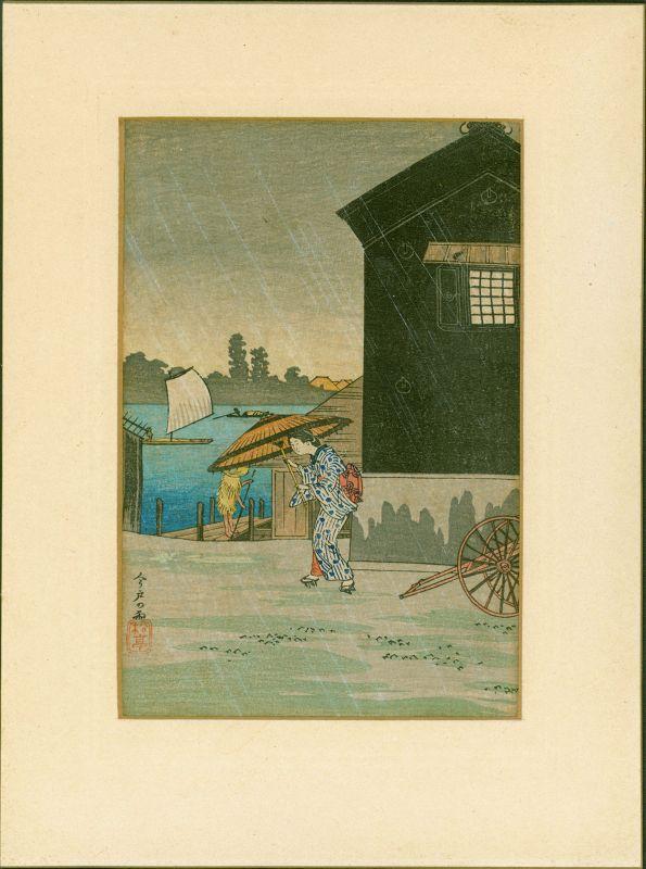 Takahashi Shotei Japanese Woodblock Print - Rain at Imado