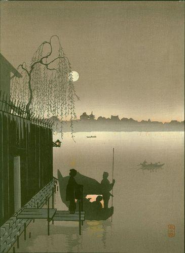 Eijiro Japanese Woodblock Print - Evening Cool Sumida - Hasegawa Night