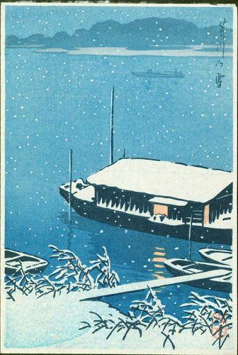 Kawase Hasui Japanese Woodblock Print - Snow at Arakawa
