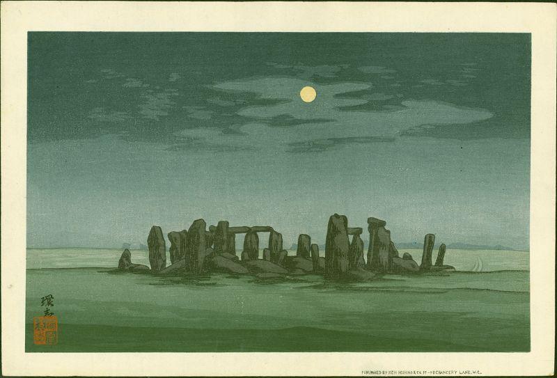 Yoshijiro Urushibara Woodblock Print -Stonehenge Moonlight  Rare SOLD