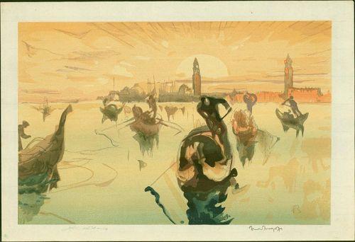 Frank Brangwyn and Y. Urushibara Woodblock - Venice, Morning SOLD