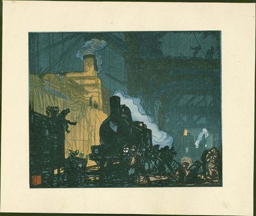 Frank Brangwyn and Y. Urushibara Woodblock - In the Docks, 1924