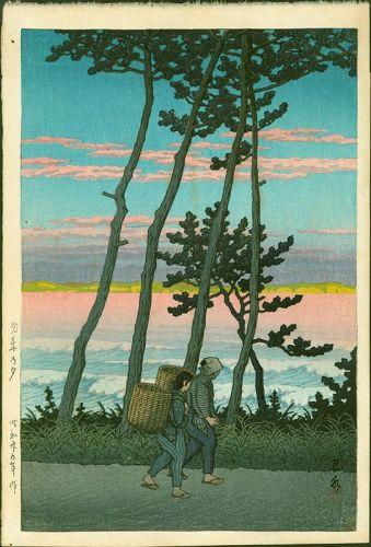 Kawase Hasui Japanese Woodblock Print - Dusk at Nakaso -Rare First Ed.