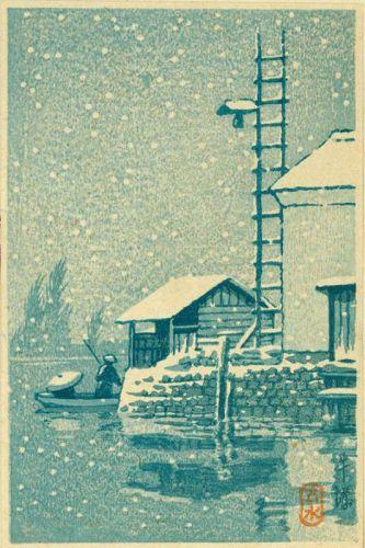 Kawase Hasui Japanese Woodblock Print - Snowscape