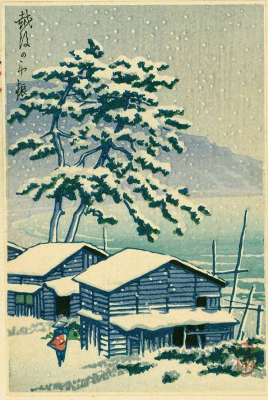 Kawase Hasui Japanese Woodblock Print - Farmhouse in Snow SOLD