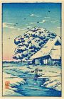 Takahashi Shotei Miniature Japanese Woodblock Print - House After Snow