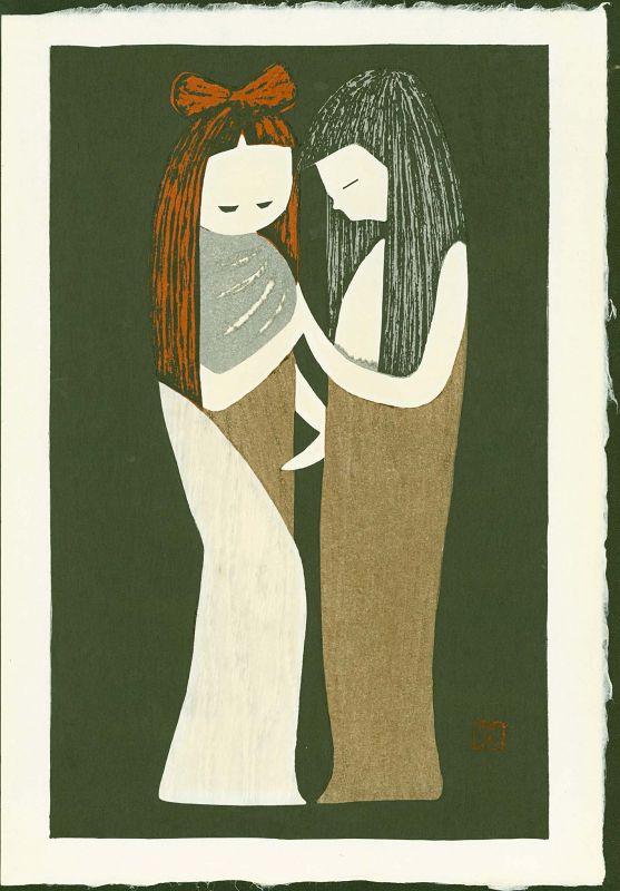 Kaoru Kawano Japanese Woodblock Print - Two Girls