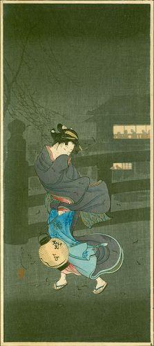 Takahashi Shotei Japanese Woodblock Print - Cold Winter Wind