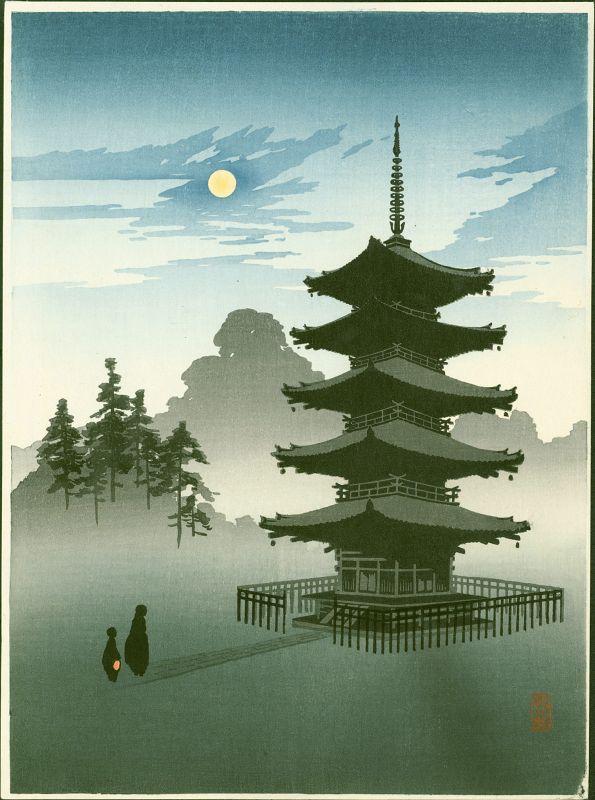 Eijiro JapaneseWoodblock Print - Pagoda by Moonlight - Hasegawa Night