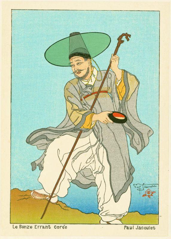 Paul Jacoulet Japanese Woodblock Print - Le Bonze Errant, Korea
