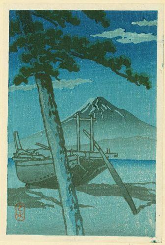 Kawase Hasui Japanese Woodblock Print - Pinebeach at Miho (2)
