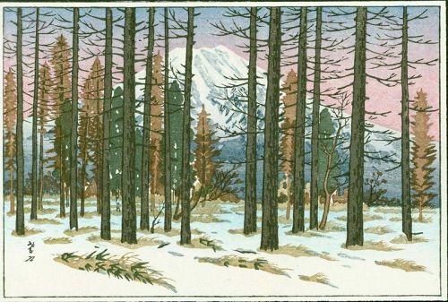 Ito Takashi Japanese Woodblock Print - Mt. Fuji From Yamanaka - Small