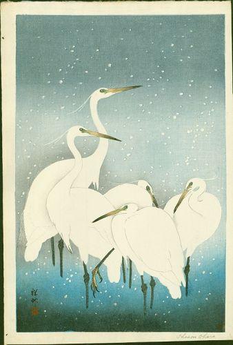 Ohara Shoson (Koson) Japanese Woodblock Print - Egrets On Snowy Night