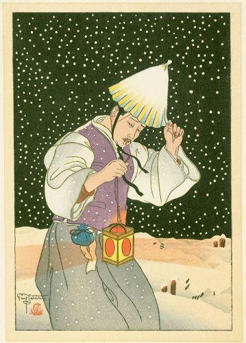 Paul Jacoulet Japanese Woodblock Print - Nuit de Neige, Korea