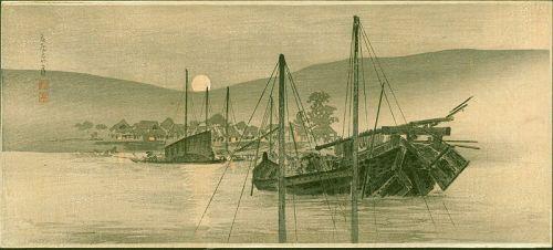 Takahashi Shotei Woodblock Print - Moon from a Harbor - Pre-earthquake