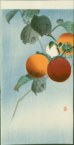 Ohara Koson Japanese Woodblock Print - Nuthatcher Atop Persimmon