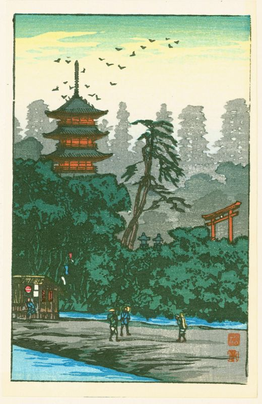 Takahashi Shotei Japanese Woodblock Print - Shrine by the River