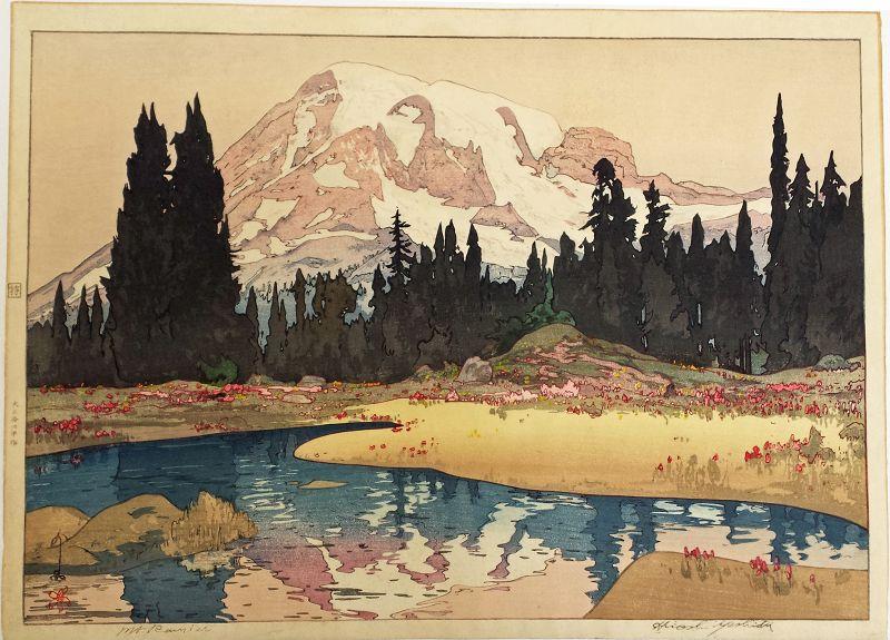 Hiroshi Yoshida Japanese Woodblock Print - Mt. Rainier SOLD