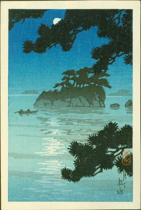Kawase Hasui Japanese Woodblock Print - Moon at Matsushima
