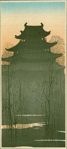 Uehara Konen Japanese Woodblock Print - Hirosaki Castle