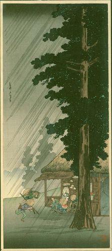 Takahashi Shotei Japanese Woodblock Print - Shower at Takaido