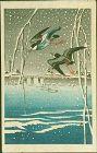 Ohara Koson Japanese Woodblock Print - Birds in Flight in Snow - Rare