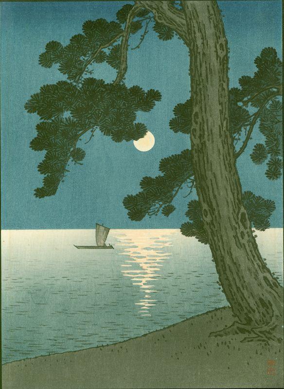 Arai Yoshimune Woodblock Print - Pine Beach Hasegawa Night 2 SOLD