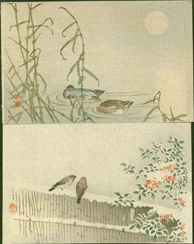 Japanese Woodblock Print Pair- Ducks and Sparrows - 1910 Matsumoto