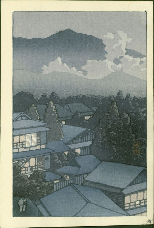 Kawase Hasui Woodblock Print - Evening View of a Village RESERVED