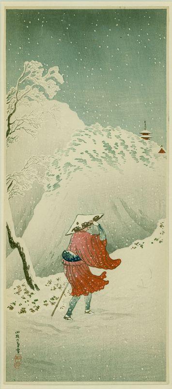 Takahashi Shotei Woodblock Print - Priest in Snow -Framed SOLD