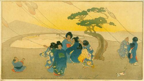 Bertha Lum Japanese Woodblock Print - Children Flying Kites 1912