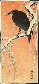 Ohara Koson Rare Japanese Woodblock Print - Crow (SOLD)