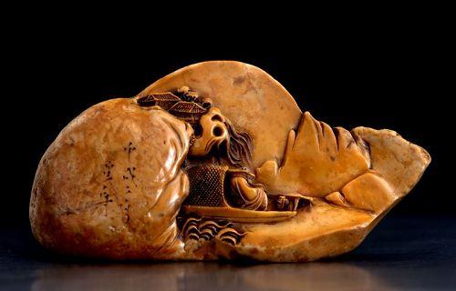 Large Antique Soupstone Seal by Xu Xinzhou