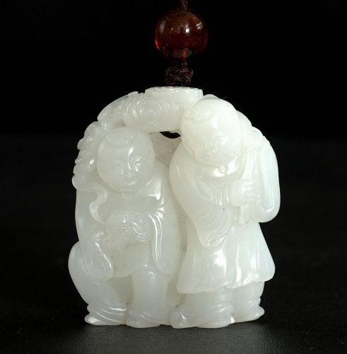 Chinese White Jade figurine of He-he Erxian