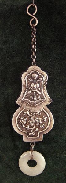 Antique Chinese Tibetan Silver Needle w Case Jade Bi