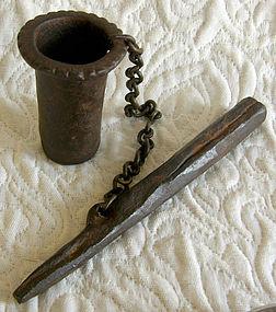 hand forged iron mortar and pestle from Maharasha