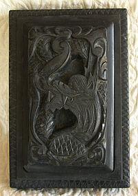 Antique Large Korean carved lidded ink stone