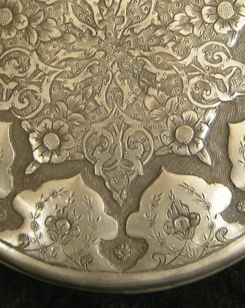 Antique Indo-Persian silver repousse round container