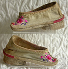 Pair of Antique Chinese embroidered canvas Lotus Shoes