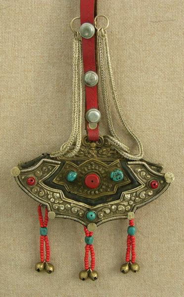 antique Tibetan womans festival purse ornament