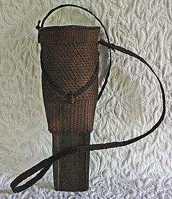 Antique Burmese hunters knife sheath basket