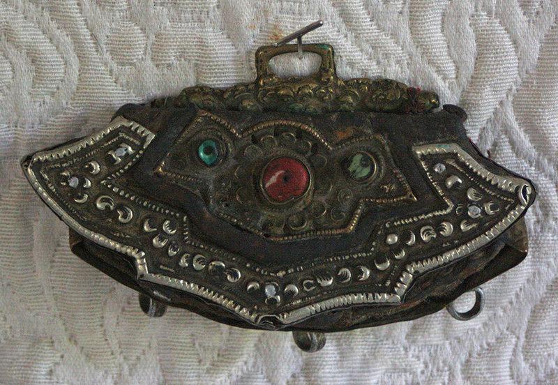Antique Tibetan festival decorative leather purse