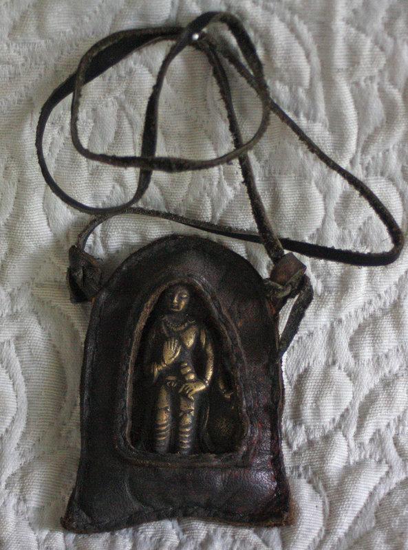 Antique Tibetan Bronze Talisman Amulet in Leather case