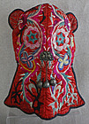 Chinese Miao Minority red  silk embroidered Childs Hat