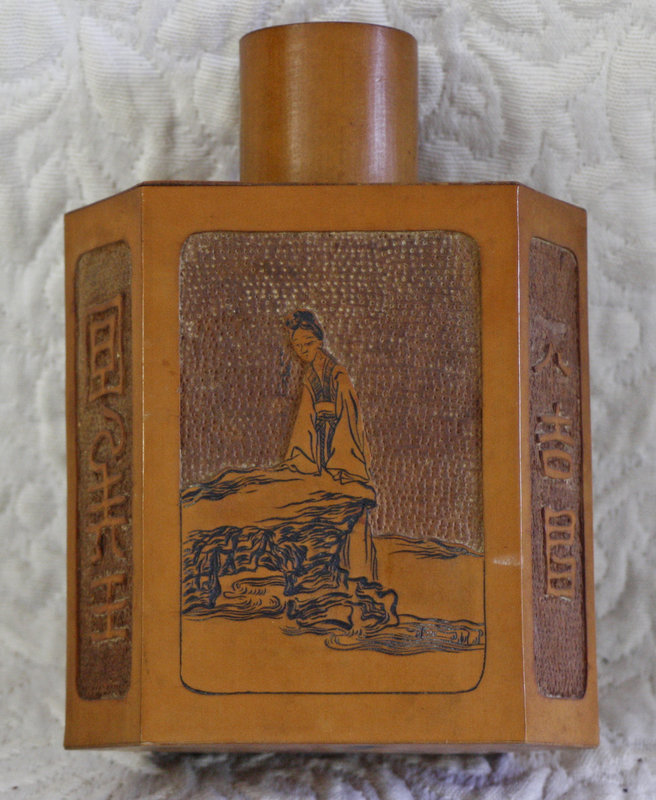 Antique Chinese 6 sided carved bamboo tea caddy