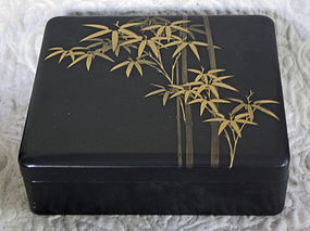 Japanese Black lacquer Box with Gold Makie design