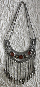 antiques silver Turkoman necklace with cornelians